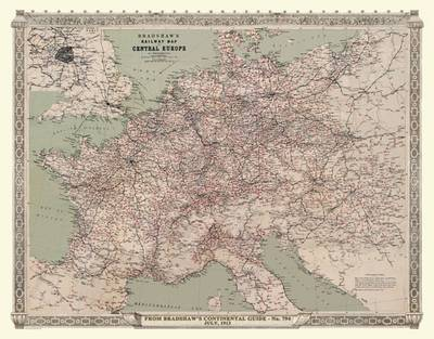 Bradshaws Continental Railway Map of Central Europe 1913: Luxury Rolled Historic Print