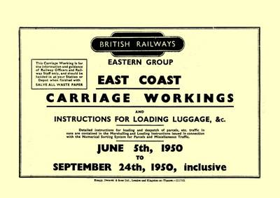 BR East Coast Carriage Workings, 1950