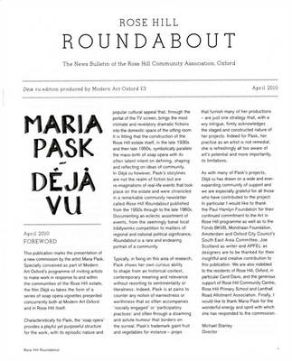 Maria Pask: Deja Vu Edition of the Rose Hill Roundabout