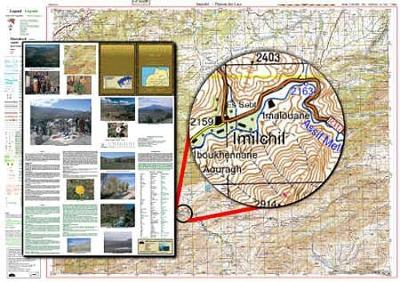 Atlas Mountains Morocco Maps: Imilchil and the Plateau Des Lacs: Topographical Map Scale 1:160, 000