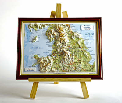 Northern England Raised Relief Map: Light Wood Frame