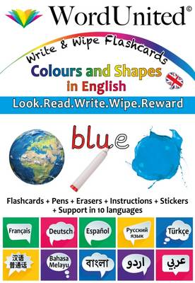 Colours and Shapes in English - Write & Wipe Flashcards with Multilingual Support (British English)