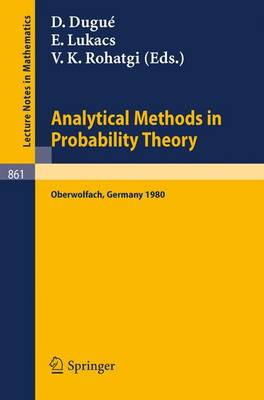 Analytical Methods in Probability Theory: Proceedings of the Conference Held at Oberwolfach, Germany, June 9-14, 1980