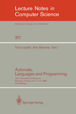 Automata, Languages and Programming: 15th International Colloquium, Tampere, Finland, July 11-15, 1988. Proceedings