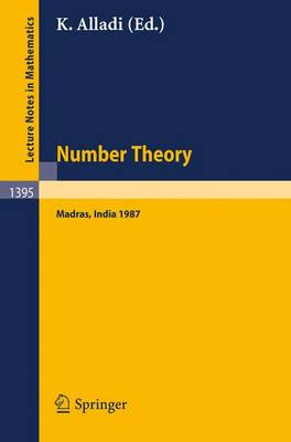 Number Theory, Madras 1987: Proceedings of the International Ramanujan Centenary Conference, held at Anna University, Madras, India, December 21, 1987