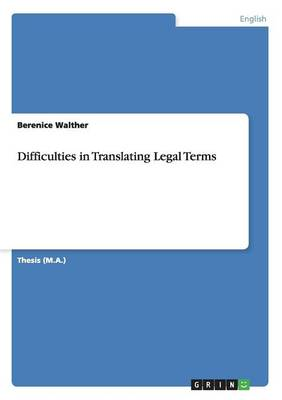 Difficulties in Translating Legal Terms