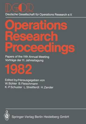 Operations Research Proceedings 1982