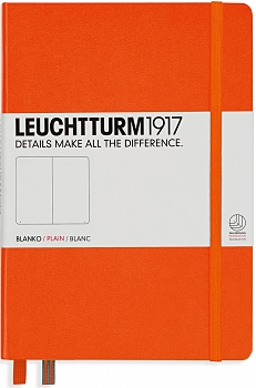 Orange Medium Plain Hardcover Notebook