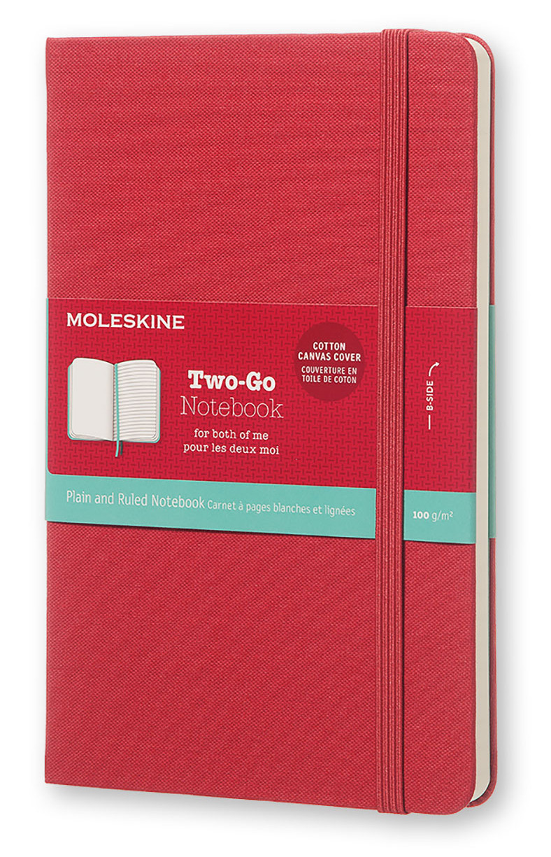 Raspberry Red Two-go Plain And Ruled Notebook