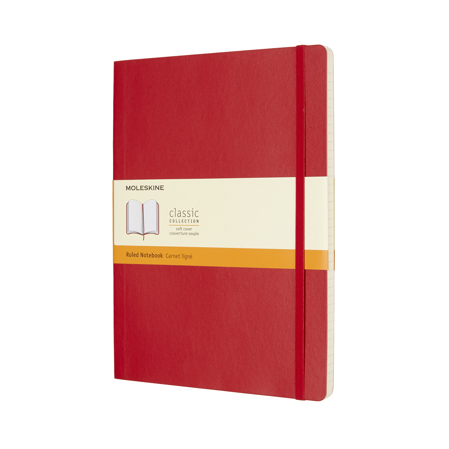 Scarlet Red Extra Large Soft Ruled Notebook