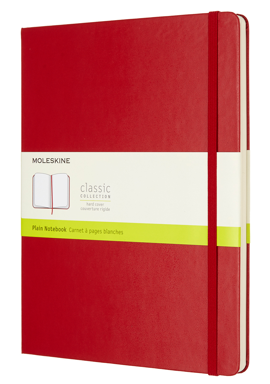 Scarlet Red Hard Extra Large Plain Notebook