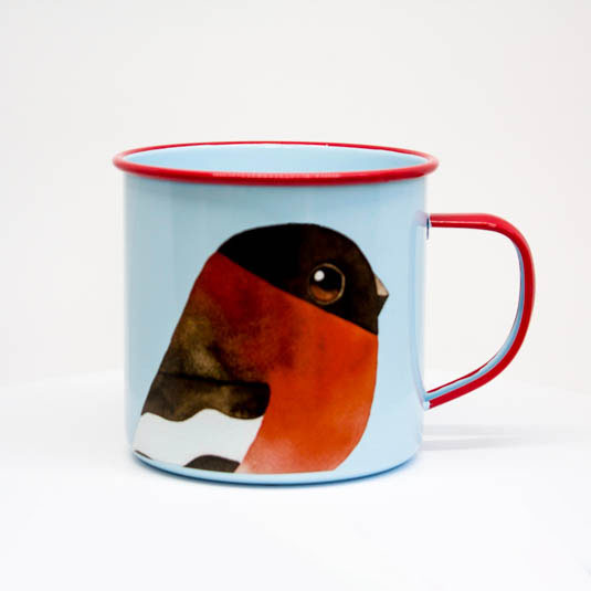 Bullfinch Enamel Mug by Matt Sewell