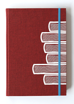 Book Stack Red Linen Hard Cover Notebook