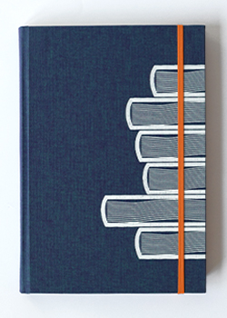 Book Stack Blue Linen Hard Cover Notebook