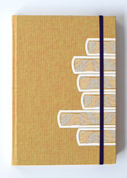 Book Stack Orange Linen Hard Cover Notebook