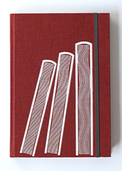 Three Books Red Linen Hard Cover Notebook