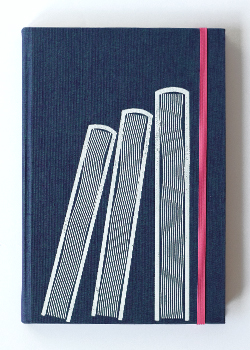 Three Books Blue Linen Hard Cover Notebook