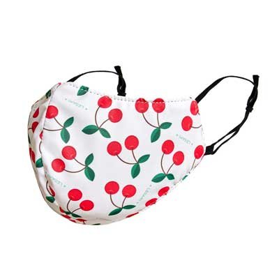 Reusable Cherry Print White Face Mask