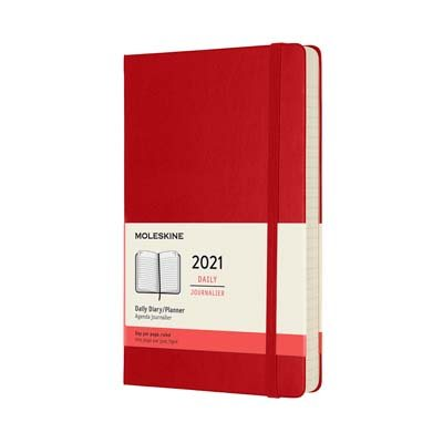Red Large Daily Hardcover Diary 2021:...