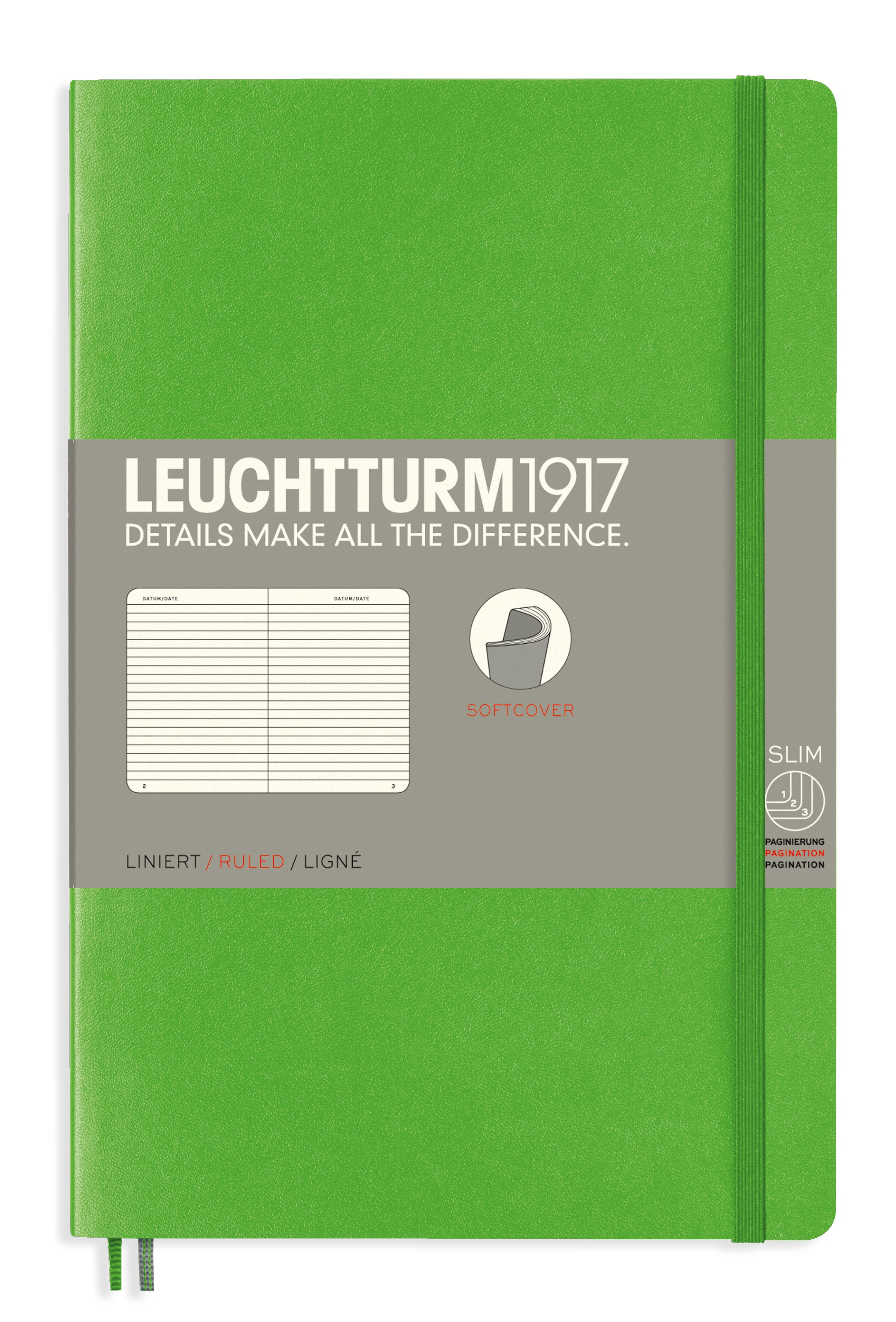 Fresh Green B6+ Ruled Softcover Notebook