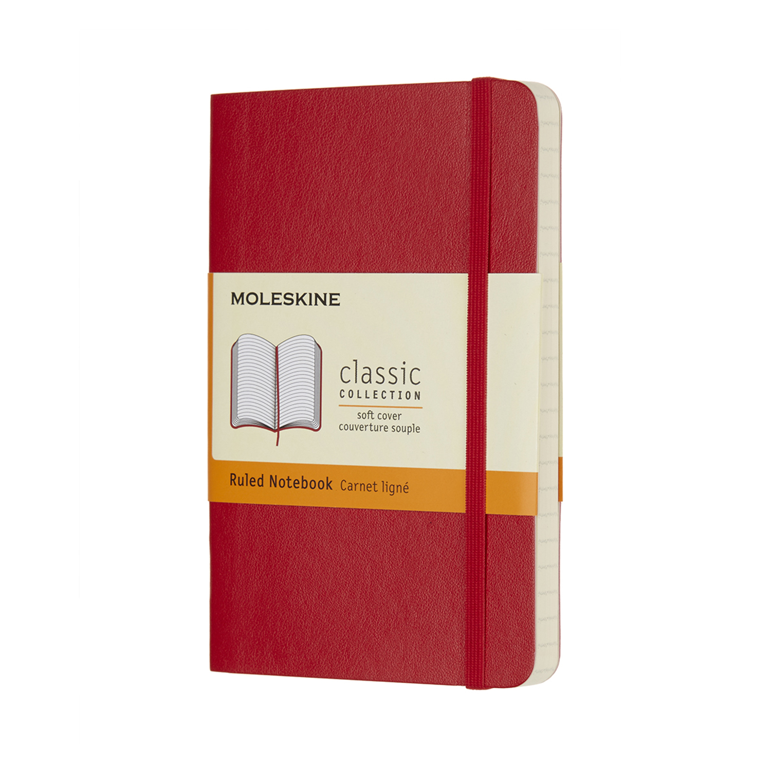 Scarlet Red Pocket Ruled Soft Notebook
