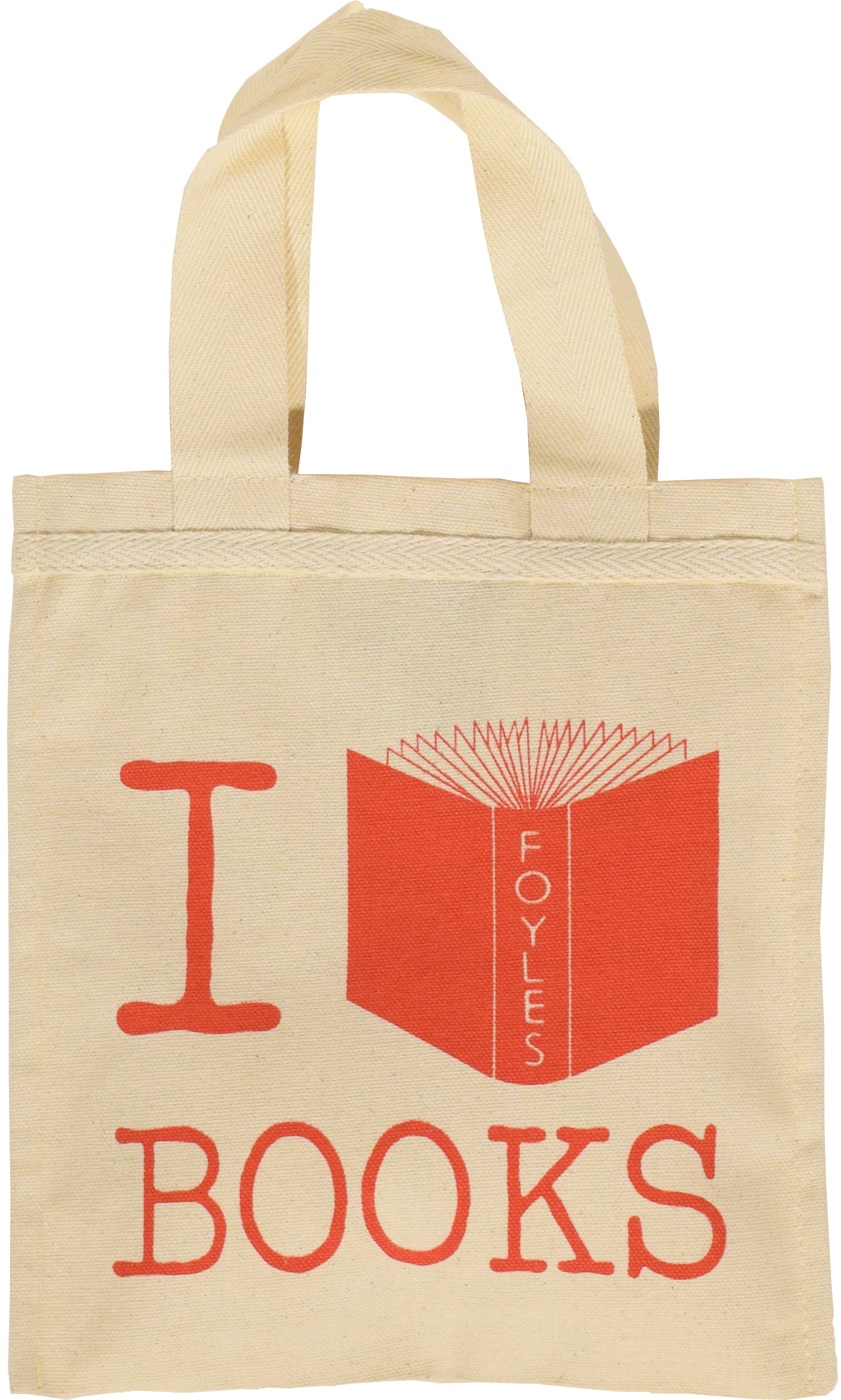 NATURAL I LOVE BOOKS BAG
