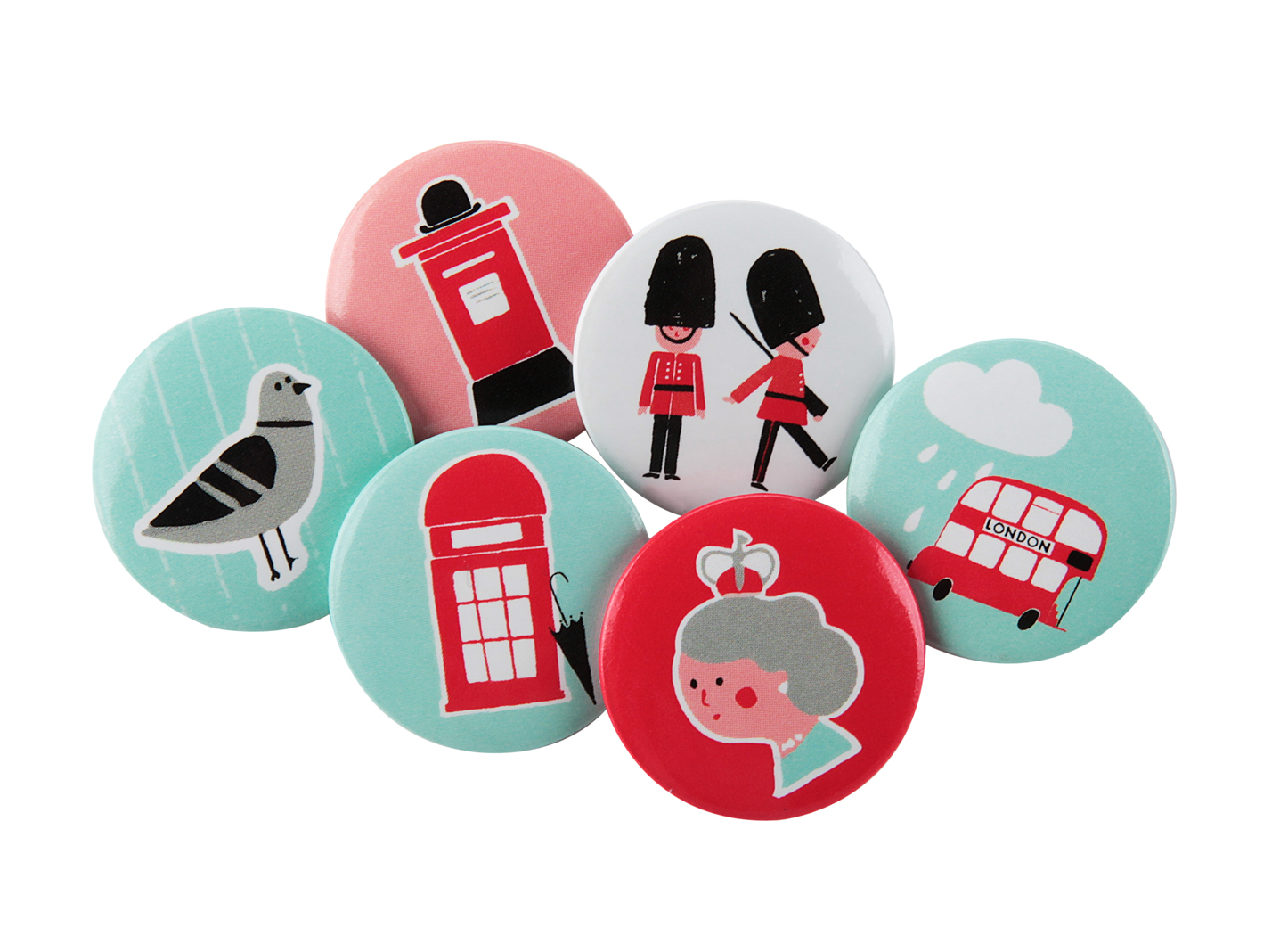 Little Red Bus Button Badges