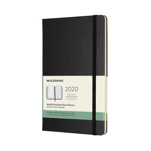 BLACK WEEKLY LARGE HARDCOVER 2020 DIARY