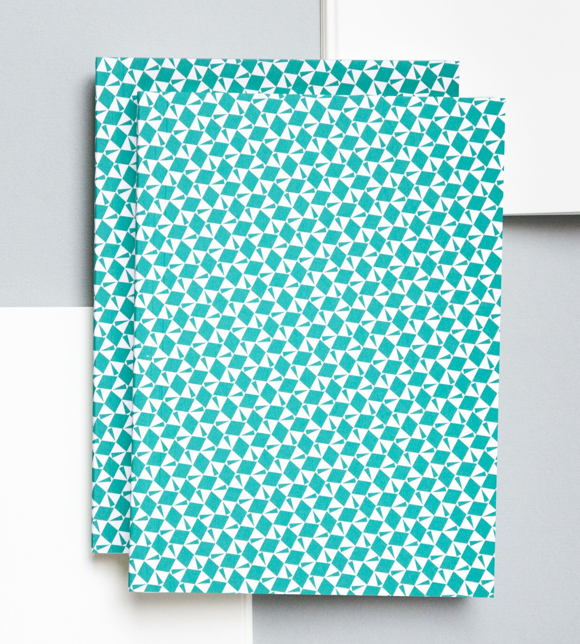 Turquoise Victor Print Plain Notebook