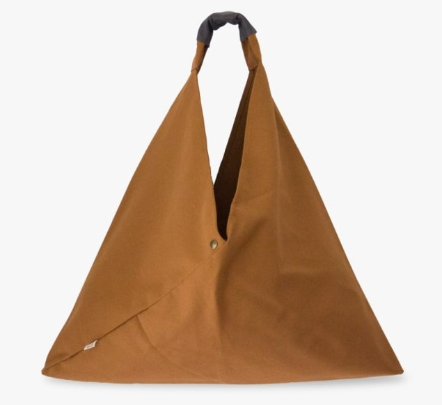 Brown bag with Grey Leather Strap