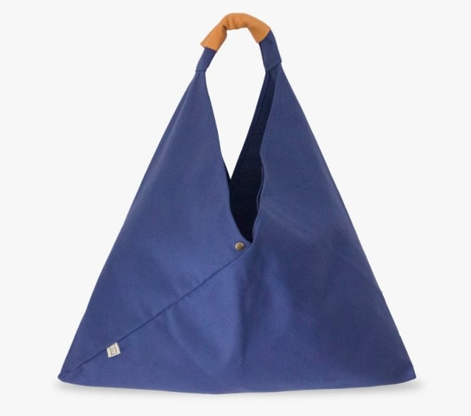 Blue Bag with Tan Leather Strap