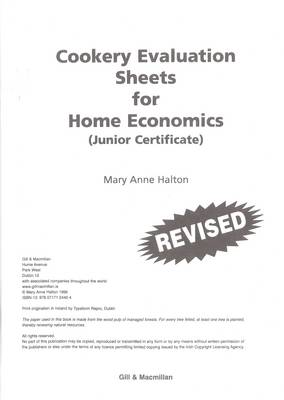 Cookery Evaluation Sheets: for Home Economics Junior Certificate