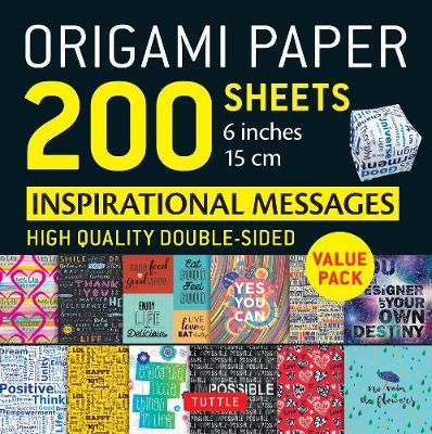 Origami Paper 200 sheets Inspirational Messages 6 inch (15 cm)