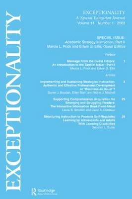 Academic Strategy Instruction: A Special Issue of Exceptionality