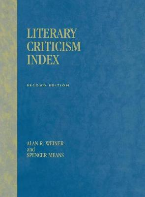 Literary Criticism Index: 2nd Ed.
