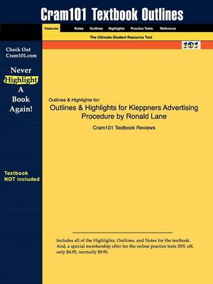 Studyguide for Kleppners Advertising Procedure by Lane, Ronald, ISBN 9780132308298