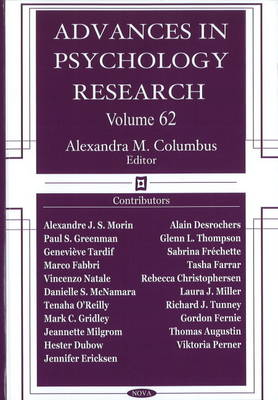 Advances in Psychology Research: Volume 62