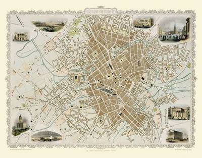 "John Tallis Map of Birmingham 1851: 20"" x 16"" Photographic Print of Birmingham"