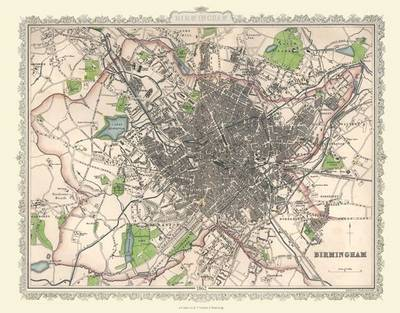 "Plan of Birmingham 1866 by Archibold Fullarton: 20"" x 16"" Photographic Print"