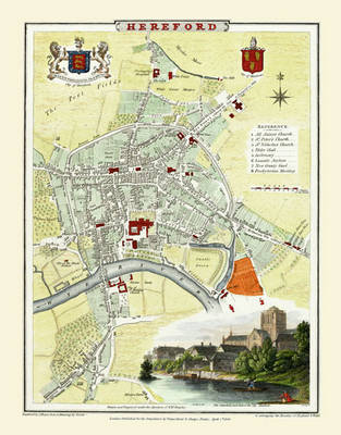 "Cole and Roper Old Map of Hereford 1806: 20"" x 16"" Photograpic Print of City of Hereford"