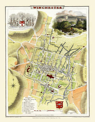 """Cole and Roper Old Map of Winchester 1805: 20"""" x 16"""" Photographic Print of City of Winchester"""
