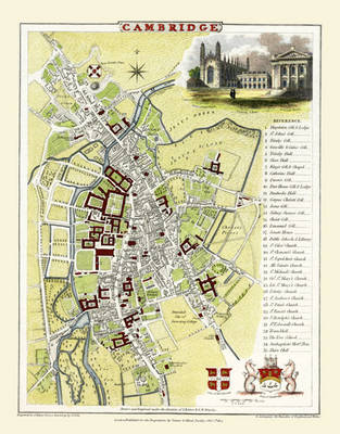 """Cole and Roper Old Map of Cambridge 1804: 20"""" x 16"""" Photographic Print of Cambridge"""