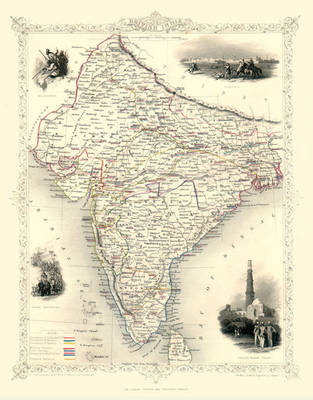"John Tallis Map of India 1851: 20"" x 16"" Photographic Print of  British India"