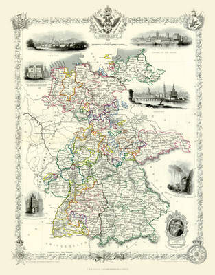 "John Tallis Map of Germany 1851: 20"" x 16"" Photographic Print of Germany"