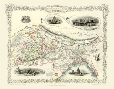 "John Tallis Map of Northern India 1851: 20"" x 16"" Photographic Print of Northern India"