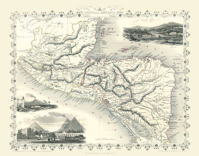 """John Tallis Map of Central America 1851: 20"""" x 16"""" Photographic Print of Central America"""