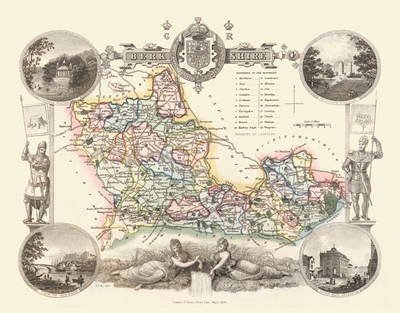 """Thomas Moule Map of Berkshire 1836: 20"""" x 16"""" Photographic Print of the County of Berkshire - England"""