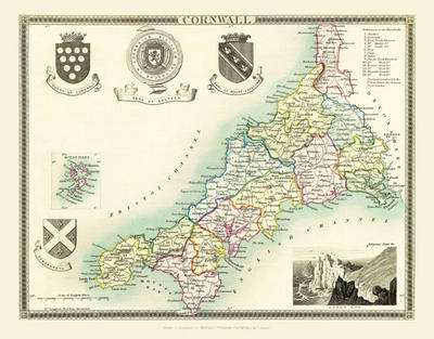 "Thomas Moule Map of Cornwall 1836: 20"" x 16"" Photographic Print of the County of Cornwall - England"