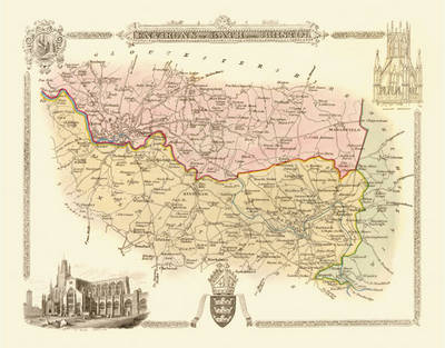"""Thomas Moule Map of Bath and Bristol 1836: 20"""" x 16"""" Photographic Print of Map of the Environs of Bath and Bristol - England"""