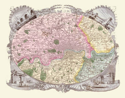"""Thomas Moule Map of London 1836: 20"""" x 16"""" Photographic Print of the Environs of London 1836 - England"""